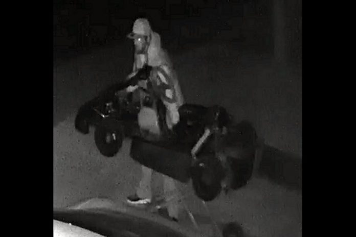 A black-and-white surveillance photo of the suspect in the theft of a $15,000 go-kart from a Norwood home. (Police-supplied photo)