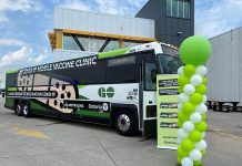 A partnership between the Ontario government and Metrolinx, the two GO-VAXX buses operate as fully functioning vaccine clinics, with the necessary supplies and trained staff to provide assistance to people and ensure vaccines are administered safely. (Supplied photo)