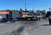 The aftermath of a fiery collision involving two trucks and a passenger vehicle that claimed the life of the driver of the passenger vehicle at the intersection of Highway 7 and County Road 30 in Havelock on September 16, 2021. (Photo: OPP)
