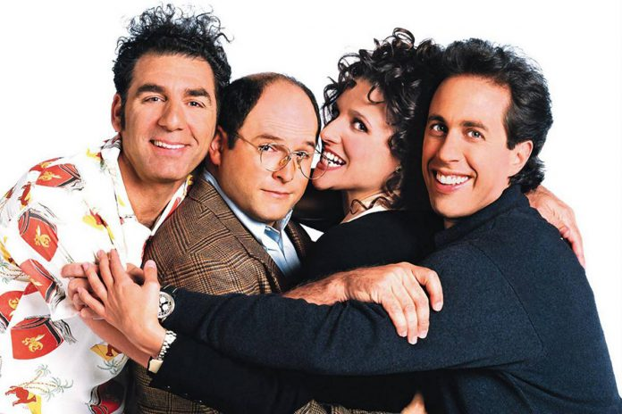 """All 180 episodes of the iconic sitcom """"Seinfeld"""", starring Michael Richards as Cosmo Kramer, Jason Alexander as George Costanza, Julia Louis-Dreyfus as Elaine Benes, and Jerry Seinfeld as a fictionalized version of himself, come to Netflix Canada on October 1, 2021. (Photo: NBC)"""