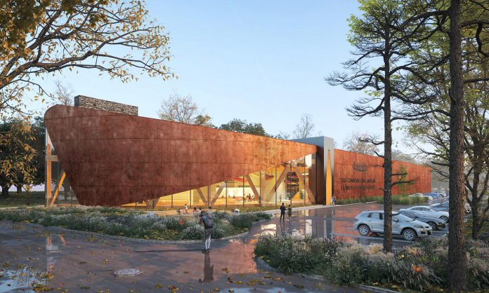 An architectural rendering of the new Canadian Canoe Museum, to be built on the Johnson Property in Peterborough, beside the Parks Canada building and north of Beavermead Park. Now that the museum has completed the purchase of the property at 2077 Ashburnham Drive and signed a design and construction contact, construction will begin in October 2021. (Rendering: Lett Architects Inc.)