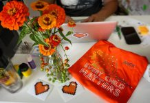 Nish Tees owner James Hodgson designed the Amik (beaver) orange t-shirt for his company's annual Orange Shirt Day fundraiser, with proceeds going this year to the new Sage and Sunshine Indigenous school in Nogojiwanong-Peterborough. A customer recently thanked him for his efforts by sending him an orange bouquet. (Photo courtesy of Nish Tees)