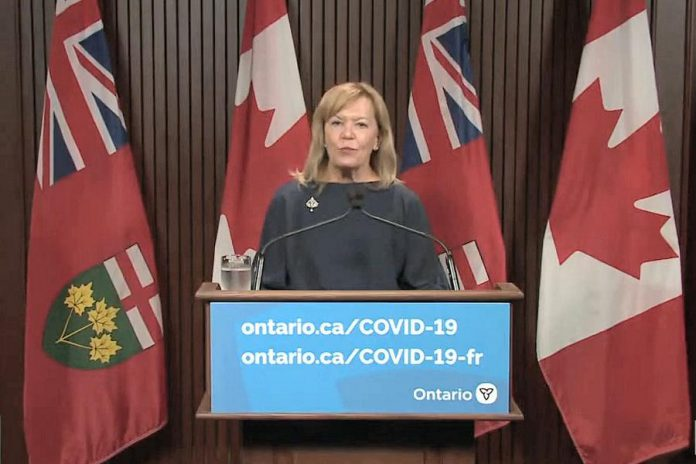 Ontario health minister Christine Elliott provides an update at Queen's Park on September 14, 2021 on the province's new proof of vaccination requirement that goes into effect September 22. (CPAC screenshot by kawarthaNOW)