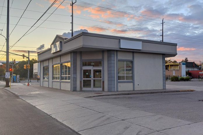 Peterborough's Opioid Response Hub will be located in the former Greyhound bus terminal at 220 Simcoe Street (at Aylmer Street North) in downtown Peterborough, pictured here in October 2020. A $160,000 fundraising campaign has been launched to renovate the location. (Photo: Bruce Head / kawarthaNOW)