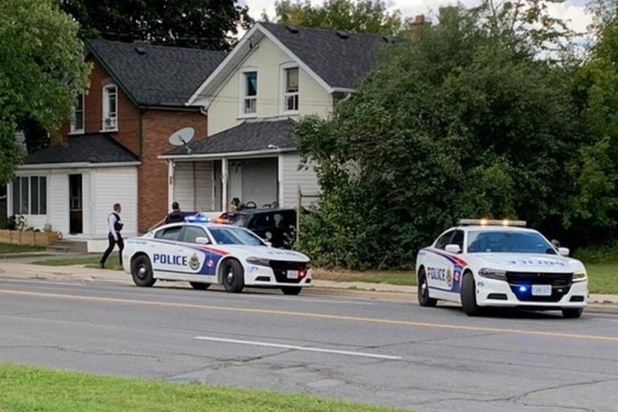 Peterborough police investigating a shooting incident in the Park and Romaine street area on the afternoon of September 10, 2021. (Photo: Brian Parypa)