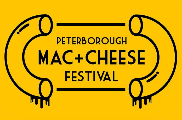 Peterborough's first-ever Mac + Cheese Festival takes place during October 2021 at 18 participating downtown restaurants, one of which will be crowned Mac + Cheese Champion with a donation  made  to Kawartha Food Share in the restaurant's name. Festival goers are also encouraged to bring non-perishable food items for Kawartha Food Share when visiting one of the participating restaurants to indulge in a mac and cheese dish. (Graphic: Mac + Cheese Festival / Peterborough DBIA)