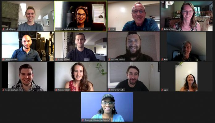 Hillary Manion of Peterborough & the Kawarthas Business Advisory Centre hosts a virtual session of the aspiring to experienced entrepreneurs participating in the summer 2021 intake of the Starter Company Plus program. (Photo: Peterborough & the Kawarthas Economic Development)