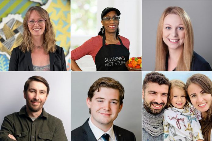 Six participants of the summer 2021 intake of Starter Company Plus each received a $5,000 microgrant to help launch or expand their businesses. Clockwise from top left: Kelsey Watts of Worthy Truth Wellness, Suzanne Schmidt of Suzanne's Hot Stuff, Emily Nigro of Dead End Lures, Tuncay Alkan & Laura Wilson of MEZE, Lucas Graham  of Countdown Creative, and Chris Carvalho of East City Knife Sharpening.  (Photos courtesy of Peterborough & the Kawarthas Economic Development)