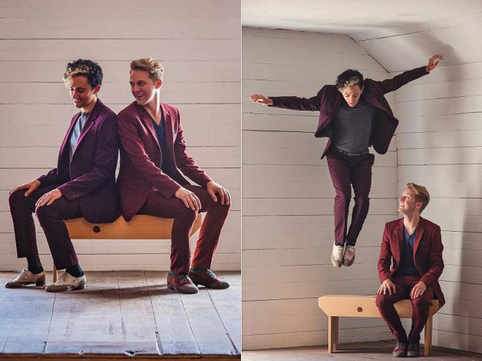 Commissioned by Fall for Dance North, Caleb Teicher and Nic Gareiss's duo project draws from tap, jazz, swing, Lindy Hop, Appalachian clogging, and Irish step dance to seamlessly weave witty informality with virtuosic technique and storytelling. (Photos: : Hillary Rees)