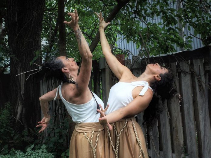 """Performed previously in Peterborough at the 2021 Nogojiwanong Fringe Festival, """"Hybrid Women"""" is an experimental dance-ritual created and performed by the dancer/choreographer team by of Norma Araiza and Olga Barrios, artists of Mexican and South American descent. (Photo: Marcela Lucía Rojas)"""