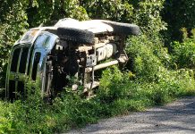 Two teenage theft suspects lost control of their vehicle near Balieboro on September 8, 2021, while fleeing police. The 19-year-old and 17-year-old suspects, both of Peterborough, were uninjured and face multiple charges. (Photo: Peterborough County OPP)