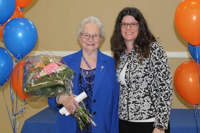 Beverly Baxter of Lindsay, a retired registered nurse, is one of 15 recipients of the Ontario government's 2021 Senior Achievement Awards. Pictured is Baxter (left) in April 2016 with Community Care City of Kawartha Lakes hospice director Jill Sadler when Baxter was honoured for more than 25 years of volunteering with the organization. (Photo: Community Care City of Kawartha Lakes / Facebook)