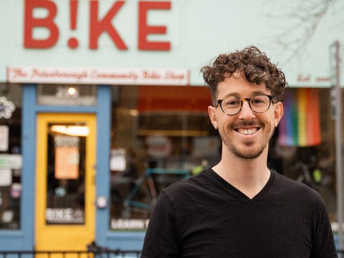 Mark Romeril, who most recently worked at Cycle Toronto, is the new executive director of B!KE: The Peterborough Community Bike Shop (Photo: Tanner Pare)