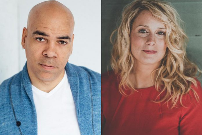 """Beau Dixon and Melissa Payne will be performing in the new 4th Line Theatre production """"Christmas Comes to Mind: A Night of Story & Song"""", along with the show's co-creators Rebecca Auerbach and Jack Nicholsen, Saskia Tomkins, Justin Hiscox, Mark Hiscox, and Kim Blackwell. (kawarthaNOW collage of supplied photos)"""