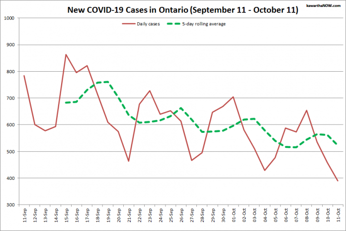 COVID-19 cases in Ontario from September 11 - October 11, 2021. The red line is the number of new cases reported daily, and the dotted green line is a five-day rolling average of new cases. (Graphic: kawarthaNOW.com)