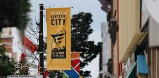 A banner promoting Peterborough's new Electric City Football Club hangs in downtown Peterborough. Owned by a group of local soccer enthusiasts, the club has officially joined League1 Ontario and will represent Peterborough in the men's premier division for the 2022 season. (Photo: @electriccityfc / Instagram)