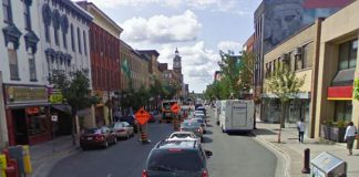George Street North between Hunter and Simcoe in downtown Peterborough will be reduced to one lane of traffic for around a month beginning November 8, 2021. (Photo: Google Maps)