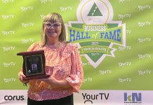 Amy Simpson of MicroAge Peterborough–Whitby was one of eight business leaders (including two posthumously) who were inducted into Junior Achievement of Northern and Eastern Ontario's Business Hall of Fame during a ceremony on September 29, 2021 at The Venue in downtown Peterborough. (Photo courtesy of Junior Achievement of Northern and Eastern Ontario)