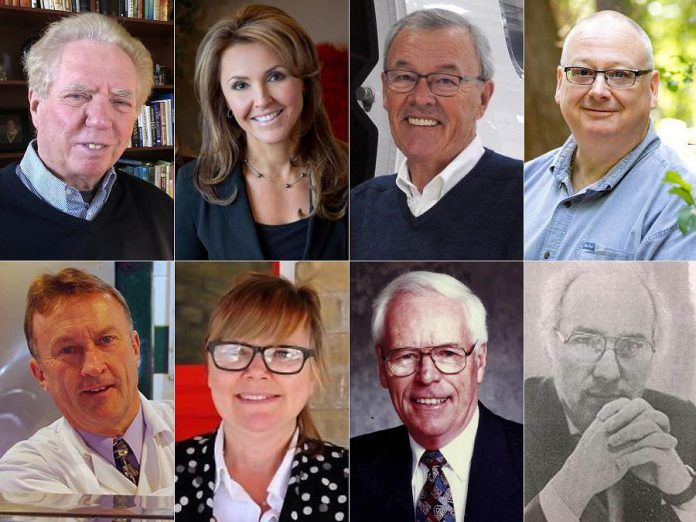 The 2021 inductees into Junior Achievement of Northern and Eastern Ontario's Peterborough Business Hall of Fame. Top row: Tony Ambler, Simone Dobson, John Gillespie, and Allan Hill. Bottom row: Franz Roessl, Amy Simpson, and posthumous inductees Allan Gillis and Joe Sabatino. (kawarthaNOW collage using supplied photos)