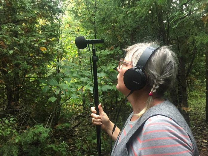 """Textile artist Melanie McCall, the first of six artists each participating in a five-week residency at Trent Radio, recording sounds from nature. McCall's """"sound collage"""" work will be broadcast on Trent Radio on October 17, 2021. (Photo courtesy of Trent Radio)"""